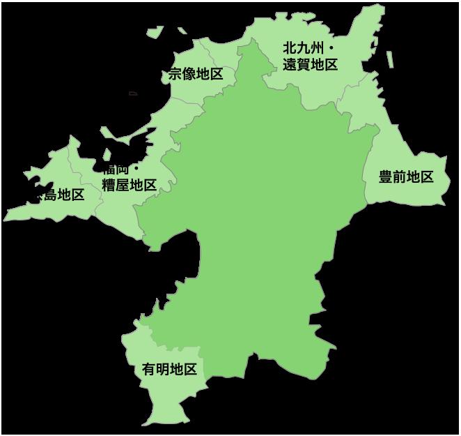 福岡県全域の朝市夕市・直売所マップ画像