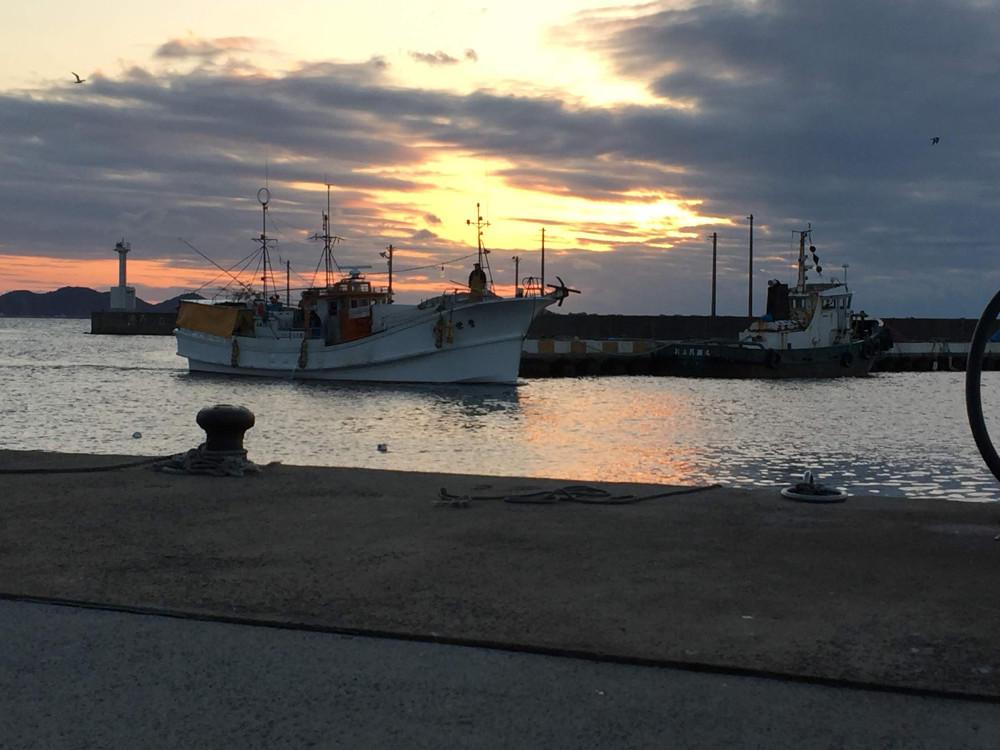 夕方帰港するトラフグはえ縄漁船